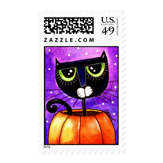 Black Cat & Pumpkin - Stamp