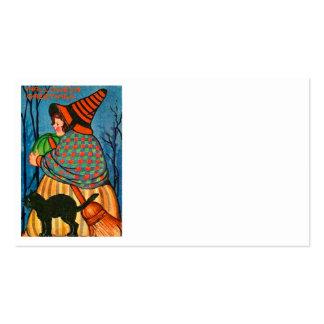 Black Cat Pumpkin Witch Business Card