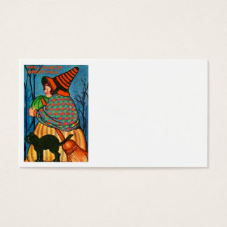 Black Cat Pumpkin Witch Business Card