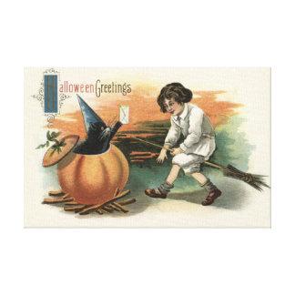 Black Cat Pumpkin Witch's Hat Broom Mail Canvas Print