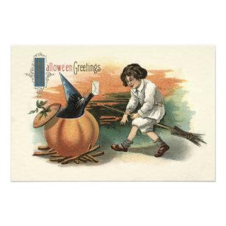 Black Cat Pumpkin Witch's Hat Broom Mail Photo Print