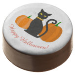 Black Cat & Pumpkins Halloween Party Custom Text Chocolate Covered Oreo
