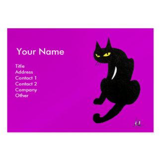 BLACK CAT , Purple Violet Pearl Paper Large Business Card