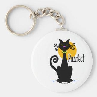Black Cat purrfect Basic Round Button Keychain