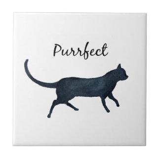 """Black cat """"purrfect"""" tile"""