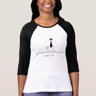 "Black Cat Raglan says, ""Just because I look guilty T-Shirt"