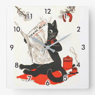 Black Cat Reading a Newspaper, Louis Wain Square Wall Clock