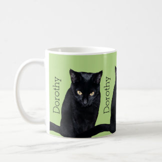 Black Cat Real Photo Personalized Name Classic White Coffee Mug