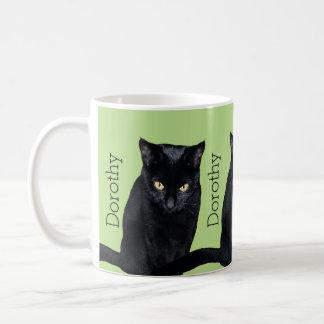 Black Cat Real Photo Personalized Name Classic White Coffee Mug
