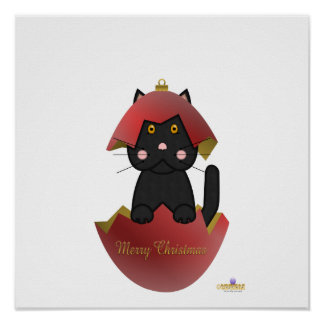Black Cat Red Christmas Ornament Merry Christmas Posters