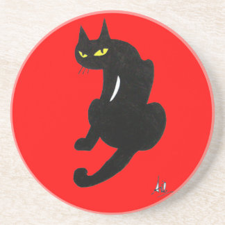 BLACK CAT, red Drink Coaster