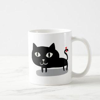 Black Cat & Red Ribbon Mug