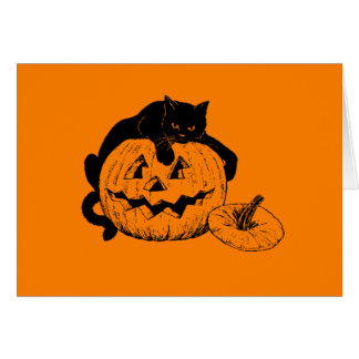 Black Cat Resting On Top of a Carved Pumpkin Card