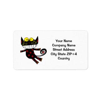 Black cat return address personalized address label