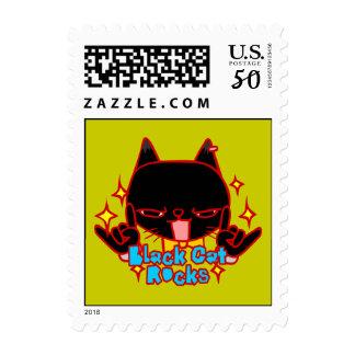 Black Cat Rocks Doodle Art Postage