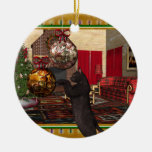 Black Cat - Round Christmas Ornament
