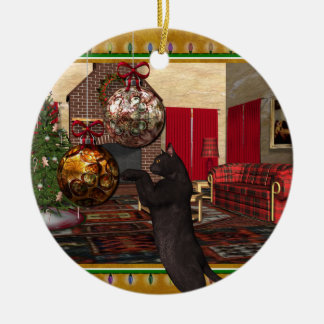 Black Cat - Round Christmas Ornament