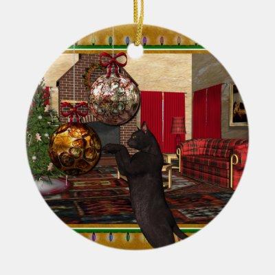 vintage black cat christmas ornament template zazzlecom - Black Cat Christmas Ornament