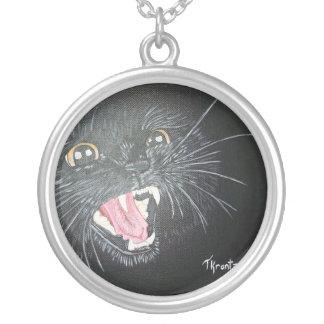 Black Cat Round Pendant Necklace