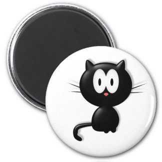 Black Cat Scardy Cat Halloween Gift 2 Inch Round Magnet