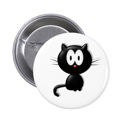 Black Cat Scardy Cat Halloween Gift Button