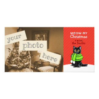 Black Cat Scarf Christmas Red Stripe Card