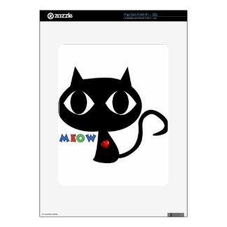 Black Cat Silhouett with Red Heart and Cute Meow Decals For The iPad