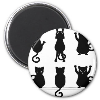 Black Cat Silhouette 2 Inch Round Magnet