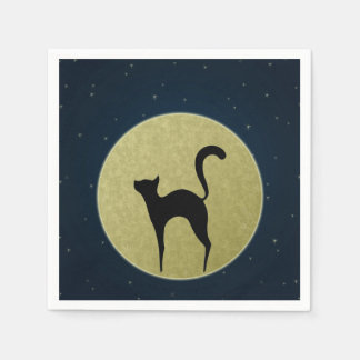 Black cat silhouette and moon Paper napkins