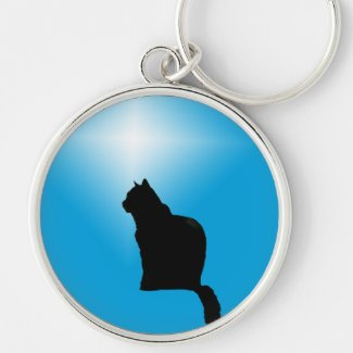Black cat silhouette and star Silver-Colored round keychain