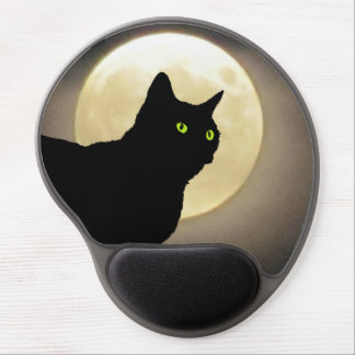 Black Cat Silhouette and The Full Moon Gel Mouse Pad