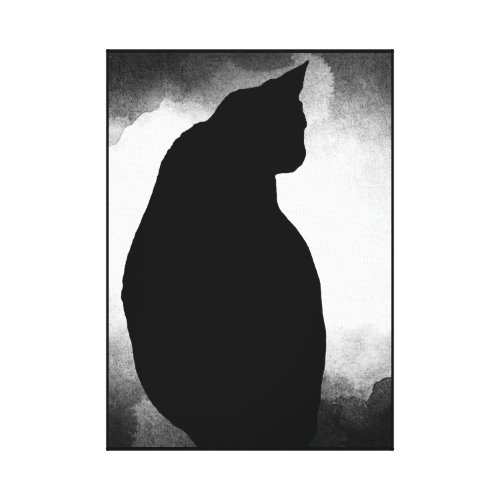 Black Cat Silhouette Canvas Print 15x21 customize
