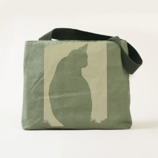 Black Cat Silhouette Canvas Utility Tote