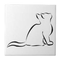 Black cat silhouette ceramic tile