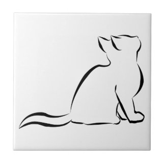 Black cat silhouette ceramic tile