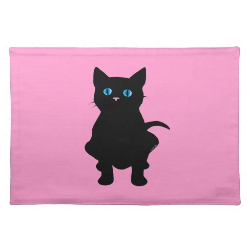Black cat silhouette cloth place mat