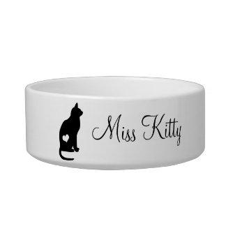 Black Cat Silhouette Custom Name Cat Food Bowls