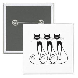 Black cat silhouette funny 2 inch square button
