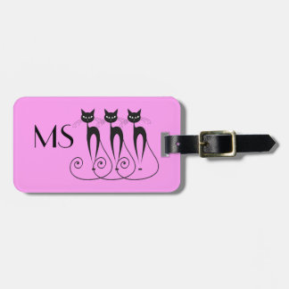 Black cat silhouette funny luggage tag