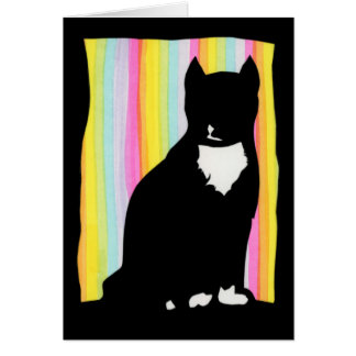 Black Cat Silhouette Greeting Card