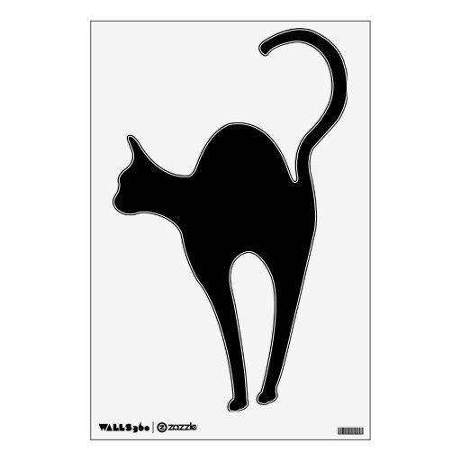 Black Cat Silhouette Halloween Wall Decal | Zazzle