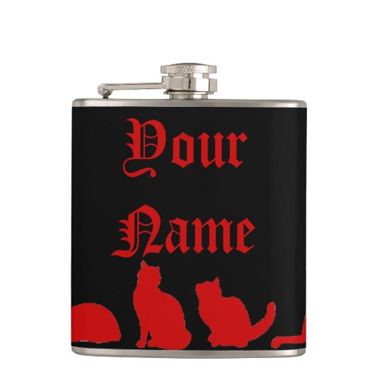 Black Cat silhouette Hip Flask