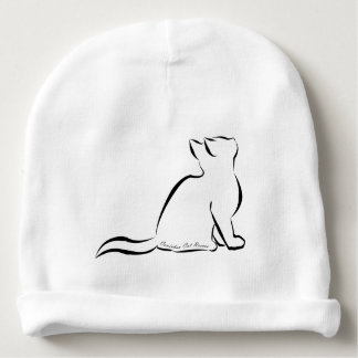 Black cat silhouette, inside text baby beanie