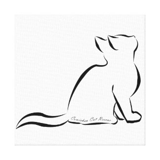 Black cat silhouette, inside text canvas print