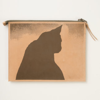 Black Cat Silhouette Leather Clutch Travel Pouch
