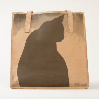 Black Cat Silhouette  Leather Tote