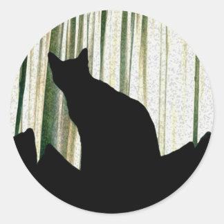 Black Cat silhouette Note Cards Classic Round Sticker