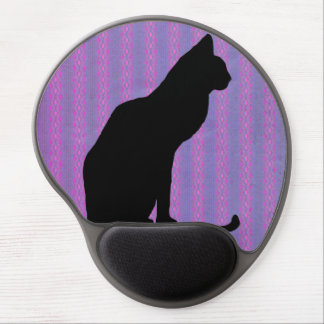 Black Cat Silhouette on Purple Stripes Gel Mouse Pads