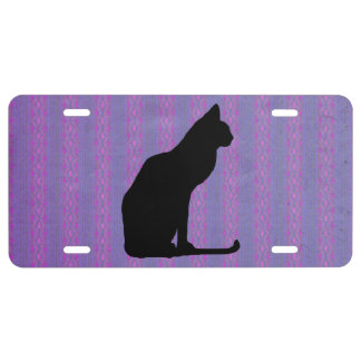 Black Cat Silhouette on Purple Stripes License Plate