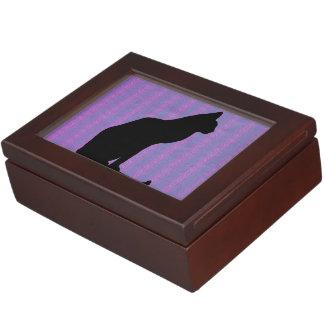 Black Cat Silhouette on Purple Stripes Memory Boxes
